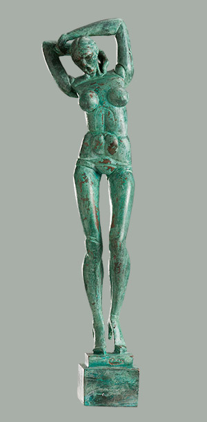 Patinated bronze female figure. 2014